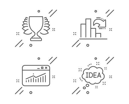 Winner, Website statistics and Decreasing graph line icons set. Idea sign. Sports achievement, Data analysis, Column chart. Creative message. Education set. Line winner outline icon. Vector