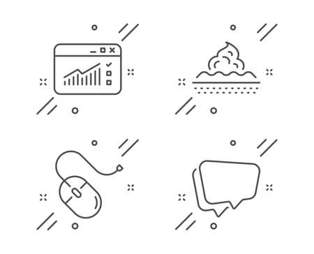 Computer mouse, Skin care and Web traffic line icons set. Speech bubble sign. Pc device, Face cream, Website window. Chat message. Business set. Line computer mouse outline icon. Vector 일러스트