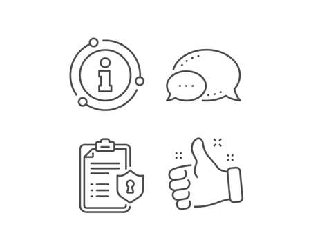 Checklist line icon. Chat bubble, info sign elements. Privacy policy document sign. Linear privacy policy outline icon. Information bubble. Vector