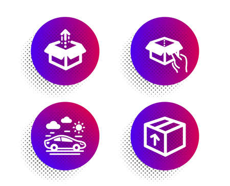 Car travel, Send box and Hold box icons simple set. Halftone dots button. Package sign. Transport, Delivery package, Delivery parcel. Transportation set. Classic flat car travel icon. Vector 일러스트