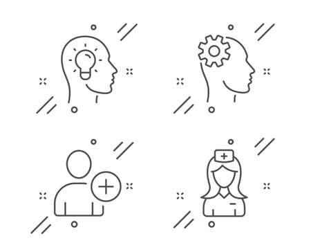 Engineering, Add user and Idea head line icons set. Hospital nurse sign. Cogwheel head, Profile settings, Lightbulb. Medical assistant. People set. Line engineering outline icon. Vector