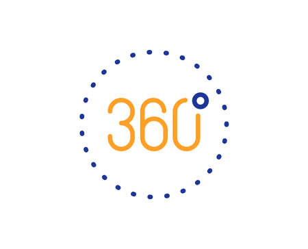 Panoramic view sign. 360 degrees line icon. VR technology simulation symbol. Colorful outline concept. Blue and orange thin line 360 degrees icon. Vector