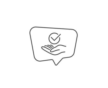 Approved line icon. Chat bubble design. Accepted or confirmed sign. Verified symbol. Outline concept. Thin line approved icon. Vector Stok Fotoğraf - 133782377