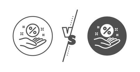 Discount sign. Versus concept. Loan percent line icon. Credit percentage symbol. Line vs classic loan percent icon. Vector Ilustração