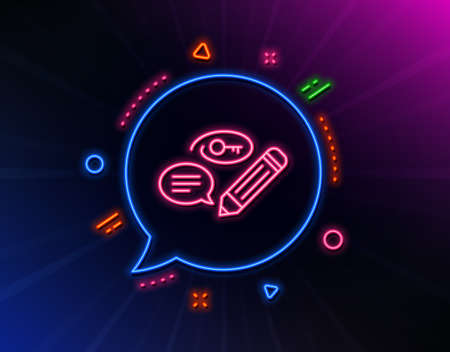 Keywords line icon. Neon laser lights. Pencil with key symbol. Marketing strategy sign. Glow laser speech bubble. Neon lights chat bubble. Banner badge with keywords icon. Vector 向量圖像