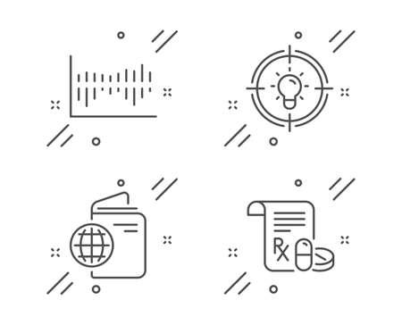Column diagram, Idea and Travel passport line icons set. Medical prescription sign. Sale statistics, Solution, Trip document. Medicine drugs. Business set. Line column diagram outline icon. Vector Illusztráció