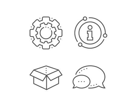 Open box line icon. Chat bubble, info sign elements. Delivery parcel sign. Cargo package symbol. Linear open box outline icon. Information bubble. Vector