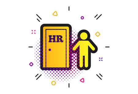 Human resources sign icon. Halftone dots pattern. HR symbol. Workforce of business organization. Man at the door. Classic flat human resources icon. Vector Illusztráció