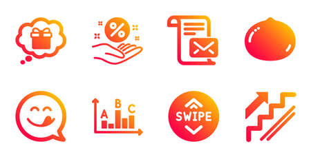 Macadamia nut, Survey results and Gift dream line icons set. Swipe up, Loan percent and Mail letter signs. Yummy smile, Stairs symbols. Vegetarian food, Best answer. Business set. Vector
