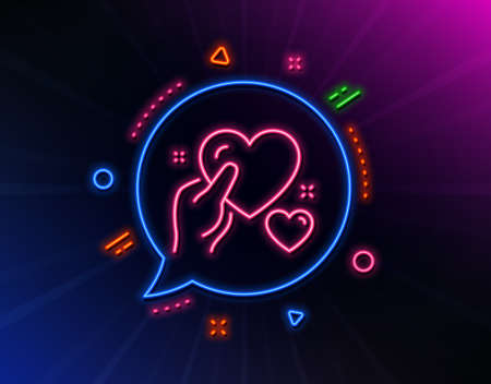 Hold heart line icon. Neon laser lights. Care love emotion sign. Valentine day symbol. Glow laser speech bubble. Neon lights chat bubble. Banner badge with hold heart icon. Vector