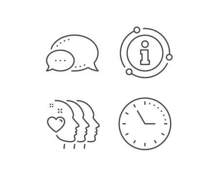 Friends couple line icon. Chat bubble, info sign elements. Friendship sign. Assistance business symbol. Linear friends couple outline icon. Information bubble. Vector Ilustração