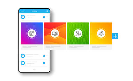 Add person, Like video and Employees wealth line icons set. Interface carousel. Helping hand sign. Edit user data, Thumbs up, Results chart. Startup palm. People set. Social network post. Vector