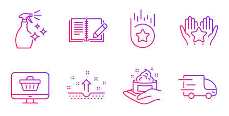 Clean skin, Skin care and Feedback line icons set. Web shop, Loyalty star and Ranking signs. Washing cleanser, Truck delivery symbols. Cosmetics, Hand cream. Gradient clean skin icon. Vector