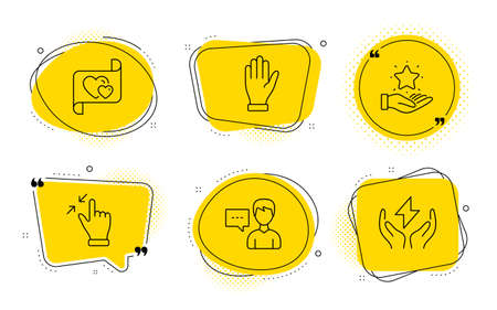 Hand, Person talk and Safe energy signs. Chat bubbles. Loyalty program, Touchscreen gesture and Love letter line icons set. Bonus star, Zoom out, Heart. Waving palm. People set. Vector Stok Fotoğraf - 133784759