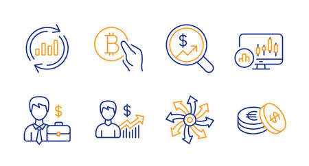 Businessman case, Versatile and Candlestick chart line icons set. Bitcoin pay, Currency audit and Business growth signs. Update data, Savings symbols. Human resources, Multifunction. Vector