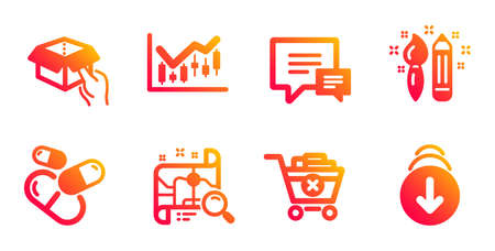 Comment, Financial diagram and Hold box line icons set. Search map, Creativity and Remove purchase signs. Capsule pill, Scroll down symbols. Talk bubbles, Candlestick chart. Business set. Vector