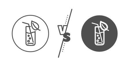 Soda aqua drink sign. Versus concept. Water glass line icon. Drop symbol. Line vs classic water glass icon. Vector Ilustração