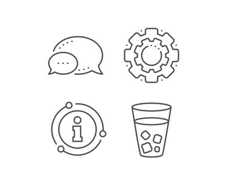 Ice tea line icon. Chat bubble, info sign elements. Soda drink sign. Fresh cold beverage symbol. Linear ice tea outline icon. Information bubble. Vector