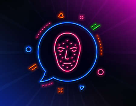 Face biometrics line icon. Neon laser lights. Facial recognition sign. Head scanning symbol. Glow laser speech bubble. Neon lights chat bubble. Banner badge with face biometrics icon. Vector