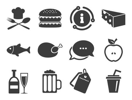Beer, fish and burger signs. Discount offer tag, chat, info icon. Food, drink icons. Chicken, cheese and apple symbols. Classic style signs set. Vector