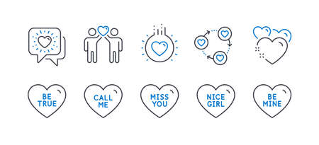 Set of Love icons, such as Miss you, Be true, Friends community, Call me, Friends chat, Heart, Love, Nice girl, Be mine line icons. Love heart, Friendship. Line miss you icon. Vector 向量圖像