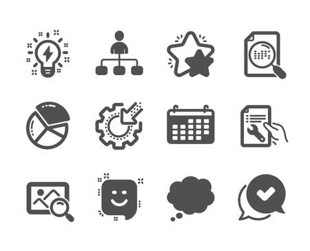 Set of Technology icons, such as Approved, Search file, Search photo, Pie chart, Comic message, Star, Inspiration, Repair document, Calendar, Seo gear, Management, Smile classic icons. Vector Illusztráció