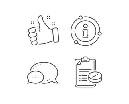 Medical prescription line icon. Chat bubble, info sign elements. Medicine pills sign. Pharmacy medication symbol. Linear medical prescription outline icon. Information bubble. Vector