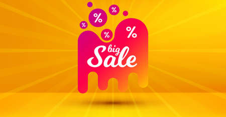 Discount banner shape. Big sale badge. Coupon design icon. Abstract yellow background. Modern concept design. Banner with offer badge. Vector