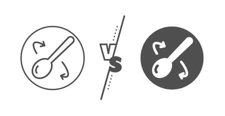 Cutlery sign. Versus concept. Cooking spoon line icon. Food mix symbol. Line vs classic cooking spoon icon. Vector Ilustracja