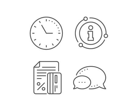 Credit card percent line icon. Chat bubble, info sign elements. Discount sign. Loan percentage symbol. Linear credit card outline icon. Information bubble. Vector