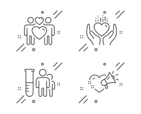 Medical analyzes, Hold heart and Love couple line icons set. Love message sign. Medicine results, Lovers, Heart. People set. Line medical analyzes outline icon. Vector Stock Illustratie