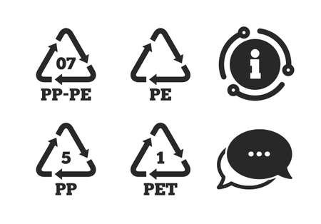High-density Polyethylene terephthalate sign. Chat, info sign. PET 1, PP-pe 07, PP 5 and PE icons. Recycling symbol. Classic style speech bubble icon. Vector  イラスト・ベクター素材