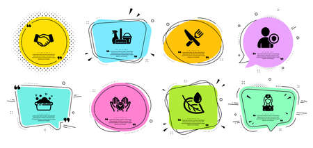 Hand washing, Leaf dew and Security line icons set. Chat bubbles with quotes. Safe time, Handshake and Household service signs. Hospital nurse, Food symbols. Laundry basin, Water drop. Vector