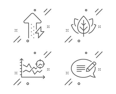 Organic tested, Seo analysis and Energy growing line icons set. Message sign. Bio ingredients, Targeting chart, Power usage. Speech bubble. Science set. Line organic tested outline icon. Vector
