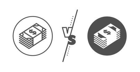 Banking currency sign. Versus concept. Cash money line icon. Dollar or USD symbol. Line vs classic usd currency icon. Vector 向量圖像