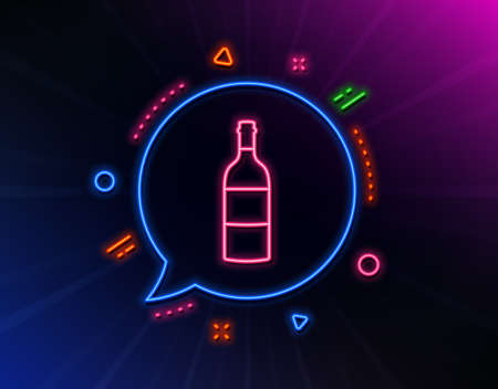 Wine bottle line icon. Neon laser lights. Merlot or Cabernet Sauvignon sign. Glow laser speech bubble. Neon lights chat bubble. Banner badge with wine bottle icon. Vector Иллюстрация