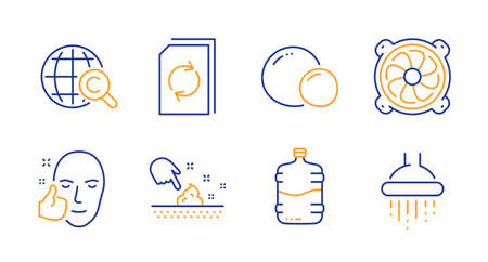 Skin moisture, International Ð¡opyright and Cooler bottle line icons set. Computer fan, Healthy face and Peas signs. Update document, Shower symbols. Wet cream, World copywriting. Vector