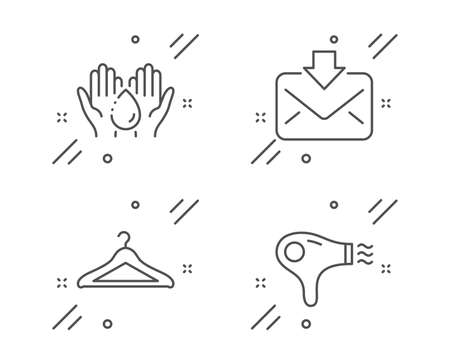 Cloakroom, Wash hands and Incoming mail line icons set. Hair dryer sign. Hanger wardrobe, Skin care, Download message. Hairdryer. Line cloakroom outline icon. Vector Zdjęcie Seryjne - 133787422