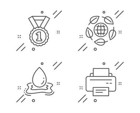 Water splash, Eco organic and Best rank line icons set. Printer sign. Aqua drop, Bio ingredients, Success medal. Printing device. Business set. Line water splash outline icon. Vector