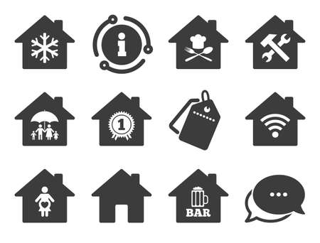 Home insurance, maternity hospital and wifi internet signs. Discount offer tag, chat, info icon. Real estate icons. Restaurant, service and air conditioning symbols. Classic style signs set. Vector Standard-Bild - 133787426