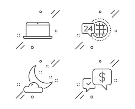 Night weather, Laptop and 24h service line icons set. Payment received sign. Sleep, Mobile computer, Call support. Money. Business set. Line night weather outline icon. Vector Stock Illustratie