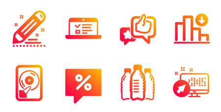 Discount message, Decreasing graph and Hdd line icons set. Water bottles, Brand contract and Web lectures signs. Like, Web system symbols. Special offer, Crisis chart. Business set. Vector Ilustração