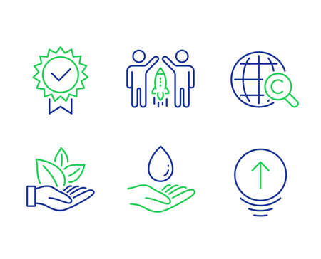 Partnership, Water care and Organic product line icons set. International Ð¡opyright, Certificate and Swipe up signs. Business startup, Aqua drop, Leaf. World copywriting. Vector