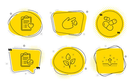 Medical prescription, Plants watering and Clean skin signs. Chat bubbles. Patient history, Capsule pill and Blood donation line icons set. Medical survey, Medicine drugs, Injury. Water drop. Vector