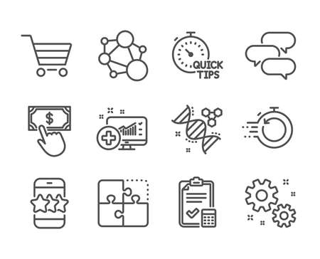 Set of Technology icons, such as Fast recovery, Accounting checklist, Star, Market sale, Talk bubble, Payment click, Work, Quick tips, Puzzle, Chemistry dna, Medical analytics, Integrity. Vector