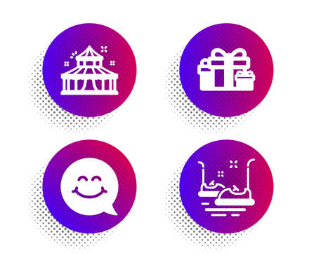 Smile face, Circus and Holiday presents icons simple set. Halftone dots button. Bumper cars sign. Chat, Attraction park, Gift boxes. Carousels. Holidays set. Classic flat smile face icon. Vector Ilustrace