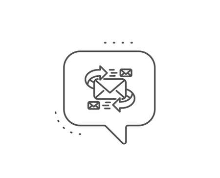 Mail line icon. Chat bubble design. Communication by letters symbol. E-mail chat sign. Outline concept. Thin line e-Mail icon. Vector