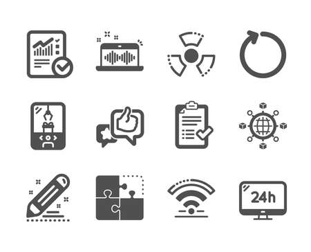 Set of Technology icons, such as Logistics network, Brand contract, Loop, Chemical hazard, 24h service, Approved checklist, Music making, Crane claw machine, Wifi, Checked calculation. Vector Illusztráció