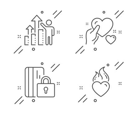 Hold heart, Blocked card and Employee results line icons set. Heart flame sign. Care love, Private money, Chart. Love fire. Business set. Line hold heart outline icon. Vector