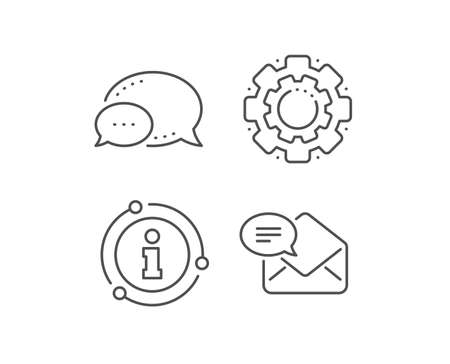 New Mail line icon. Chat bubble, info sign elements. Message correspondence sign. E-mail symbol. Linear new Mail outline icon. Information bubble. Vector  イラスト・ベクター素材